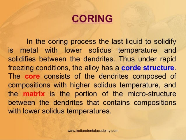 CORING In the coring process the last liquid to solidify is metal with lower solidus temperature and solidifies between th...