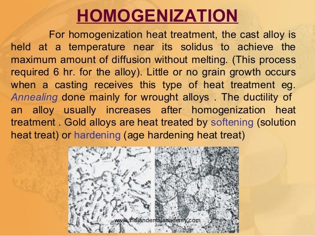 For homogenization heat treatment, the cast alloy is held at a temperature near its solidus to achieve the maximum amount ...