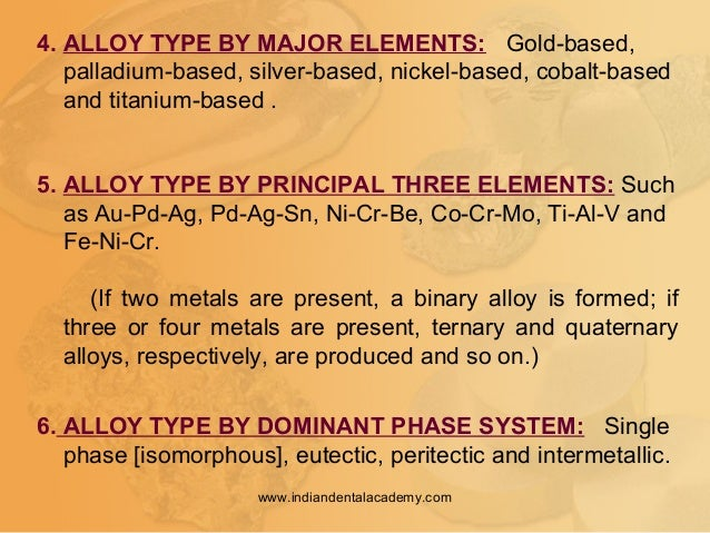 4. ALLOY TYPE BY MAJOR ELEMENTS: Gold-based, palladium-based, silver-based, nickel-based, cobalt-based and titanium-based ...