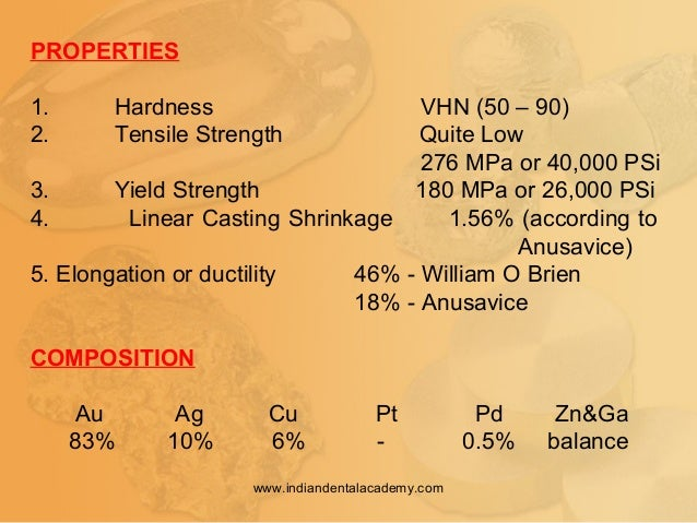 PROPERTIES 1. Hardness VHN (50 – 90) 2. Tensile Strength Quite Low 276 MPa or 40,000 PSi 3. Yield Strength 180 MPa or 26,0...