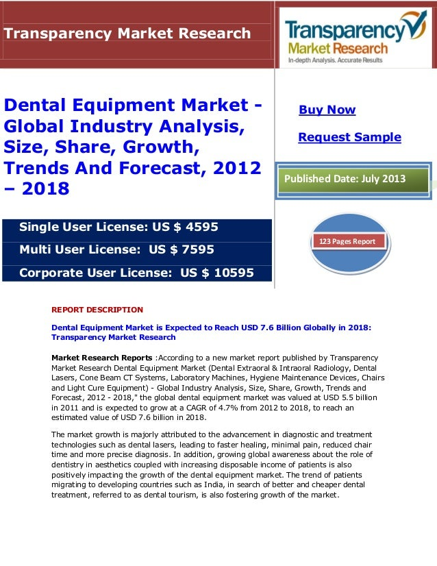 REPORT DESCRIPTION Dental Equipment Market is Expected to Reach USD 7.6 Billion Globally in 2018: Transparency Market Rese...