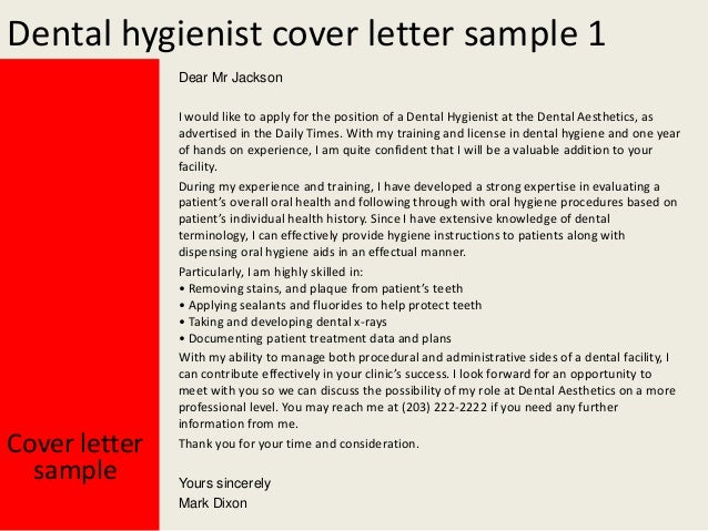 dental hygienist cover letter - Dental Hygiene Cover Letter Samples