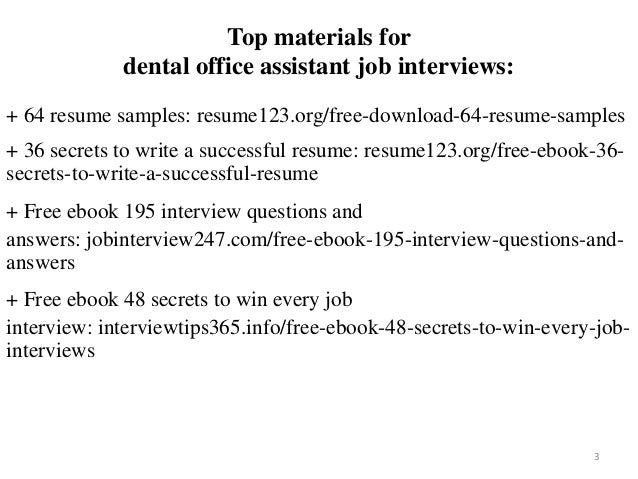 2 3 Top Materials For Dental Office Assistant Job Interviews 64 Resume Samples