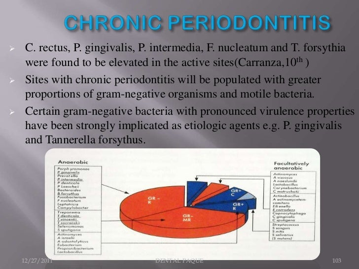      Gram -ve, and anaerobic rods.    The most numerous isolates are several species from the     genera Eubacterium, A....