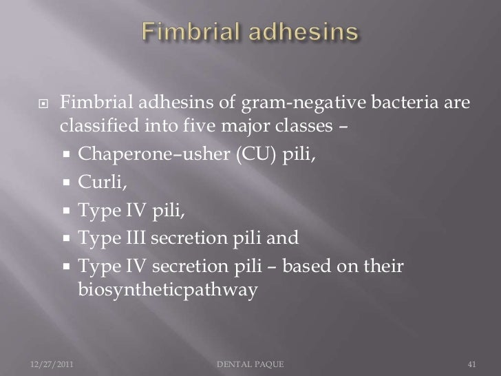     Fimbrial adhesins of gram-negative bacteria are      classified into five major classes –       Chaperone–usher (CU)...