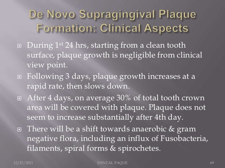     During 1st 24 hrs, starting from a clean tooth      surface, plaque growth is negligible from clinical      view poin...
