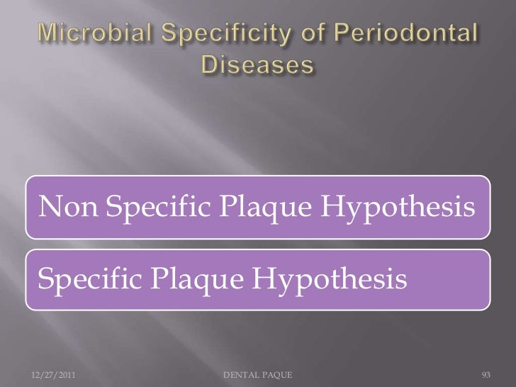     The nonspecific and specific plaque hypotheses were delineated in      1976 by Walter Loesche     The nonspecific pl...