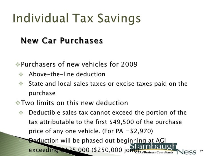 New Car Purchase Sales Tax Deduction