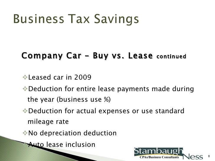Leased Car Business Tax Deduction