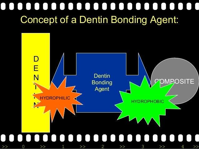 >> 0 >> 1 >> 2 >> 3 >> 4 >> Concept of a Dentin Bonding Agent: D E N T I N COMPOSITE Dentin Bonding Agent HYDROPHILIC HYDR...