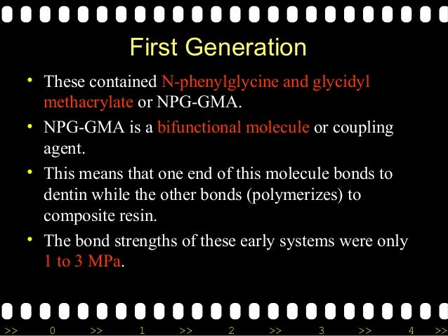 >> 0 >> 1 >> 2 >> 3 >> 4 >> First Generation • These contained N-phenylglycine and glycidyl methacrylate or NPG-GMA. • NPG...