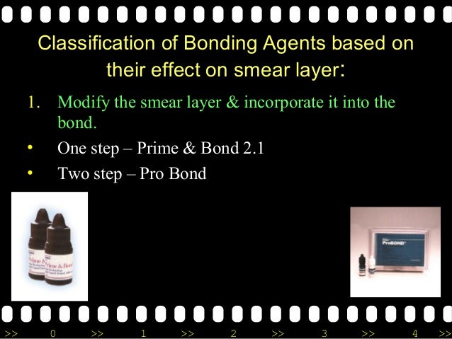 >> 0 >> 1 >> 2 >> 3 >> 4 >> Classification of Bonding Agents based on their effect on smear layer: 1. Modify the smear lay...