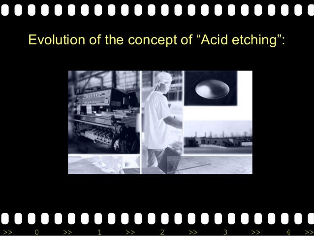 """>> 0 >> 1 >> 2 >> 3 >> 4 >> Evolution of the concept of """"Acid etching"""":"""