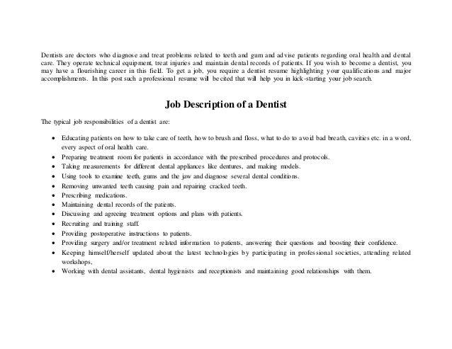 Dentist Resume Doc. dental assistant cv example for healthcare ...