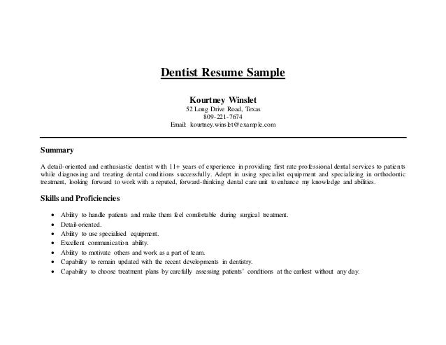 dentist - Dental Resumes Samples