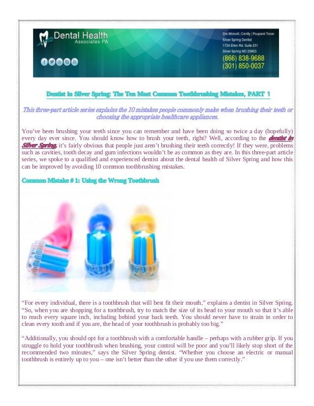 DentistDentist inin SilverSilver SpringSpring:: TheThe TenTen MostMost CommonCommon ToothbrushingToothbrushing MistakesMis...