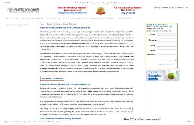 Email List of Dental Doctors, Dental Surgeons Email Address