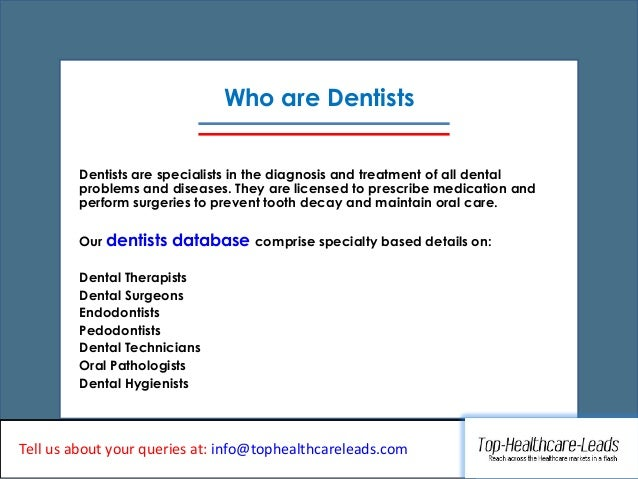 100 Accurate Dentists Email List From Top Healthcare Leads