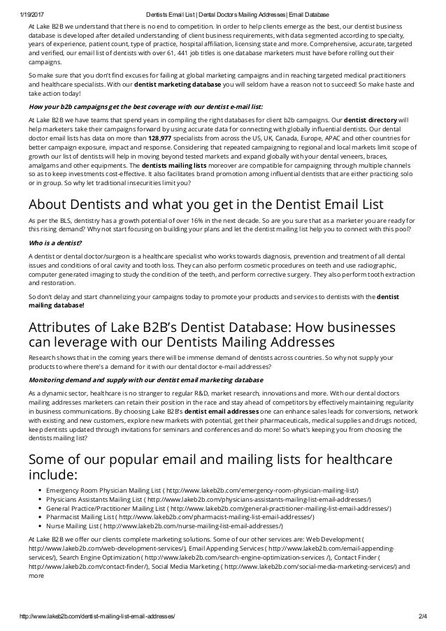 Dentists Email Address List