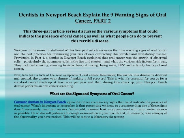 Dentists in Newport Beach Explain the 9 Warning Signs of Oral Cancer,…