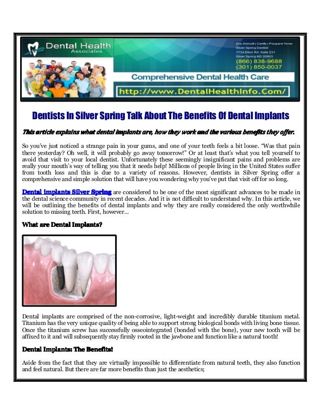 Dentists In Silver Spring Talk About The Benefits Of Dental ImplantsThisThisThisThis articlearticlearticlearticle explains...