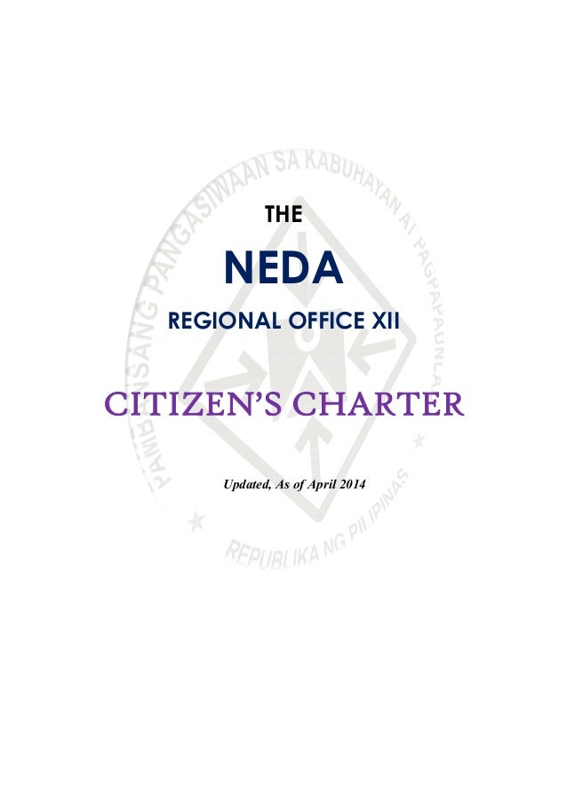 Updated NEDA RO XII Citizen's Charter