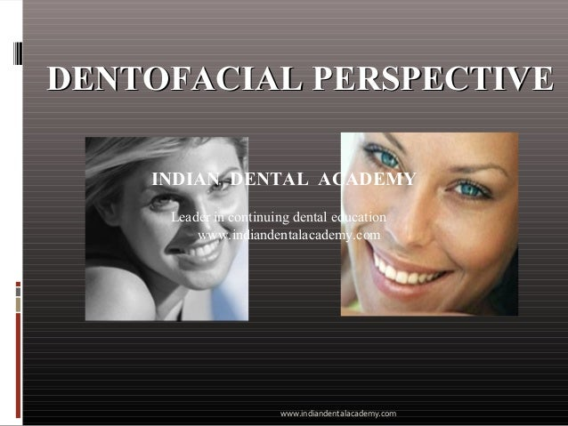 DENTOFACIAL PERSPECTIVEDENTOFACIAL PERSPECTIVE INDIAN DENTAL ACADEMY Leader in continuing dental education www.indiandenta...