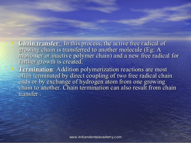 • Chain transferChain transfer:: In this process, the active free radical ofIn this process, the active free radical of gr...