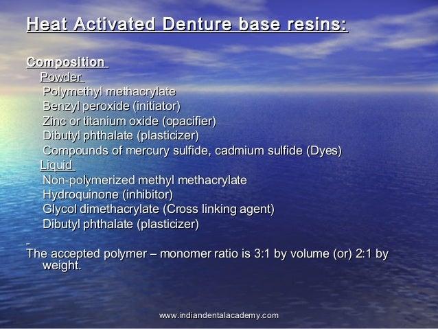 Heat Activated Denture base resins:Heat Activated Denture base resins: CompositionComposition PowderPowder Polymethyl meth...