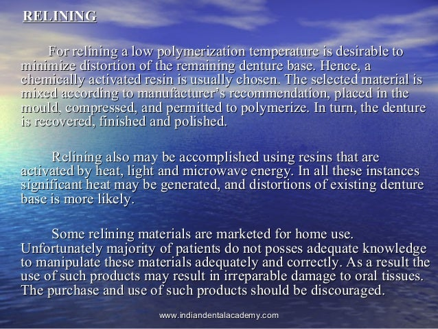 RELININGRELINING For relining a low polymerization temperature is desirable toFor relining a low polymerization temperatur...