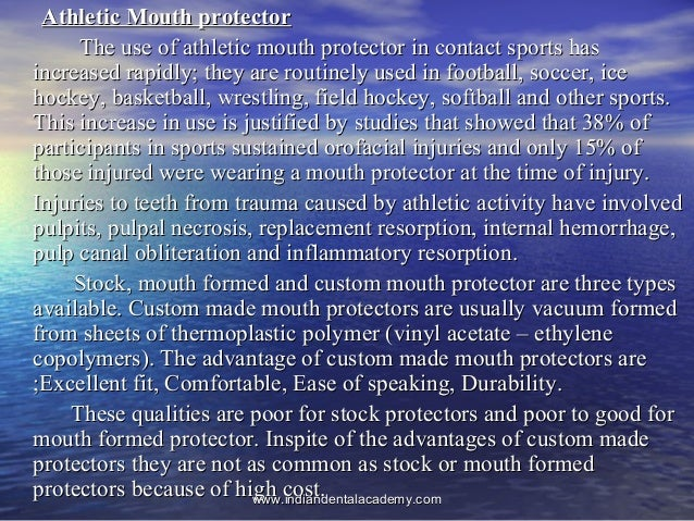 Athletic Mouth protectorAthletic Mouth protector The use of athletic mouth protector in contact sports hasThe use of athle...