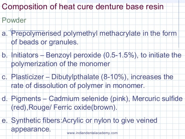 Composition of heat cure denture base resin Powder a. Prepolymerised polymethyl methacrylate in the form of beads or granu...