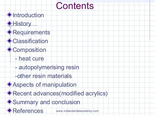 Contents Introduction History Requirements Classification Composition - heat cure - autopolymerising resin -other resin ma...