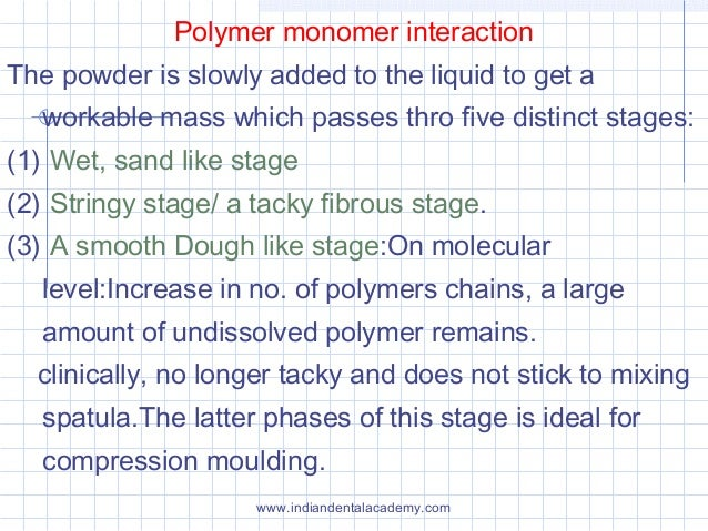 Polymer monomer interaction The powder is slowly added to the liquid to get a workable mass which passes thro five distinc...