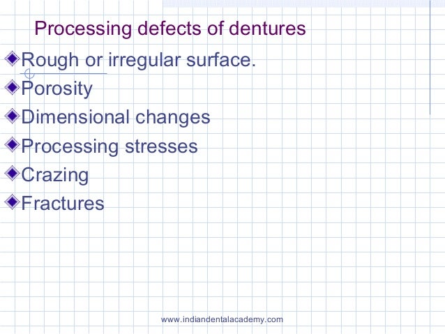 Processing defects of dentures Rough or irregular surface. Porosity Dimensional changes Processing stresses Crazing Fractu...
