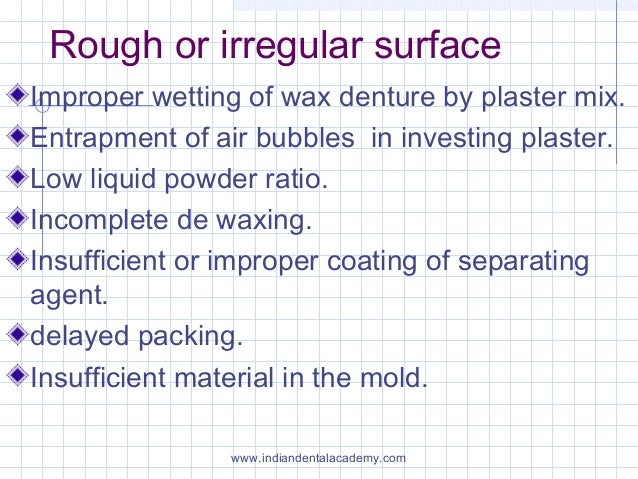 Rough or irregular surface Improper wetting of wax denture by plaster mix. Entrapment of air bubbles in investing plaster....