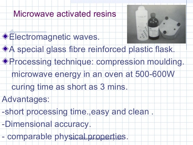 Microwave activated resins Electromagnetic waves. A special glass fibre reinforced plastic flask. Processing technique: co...