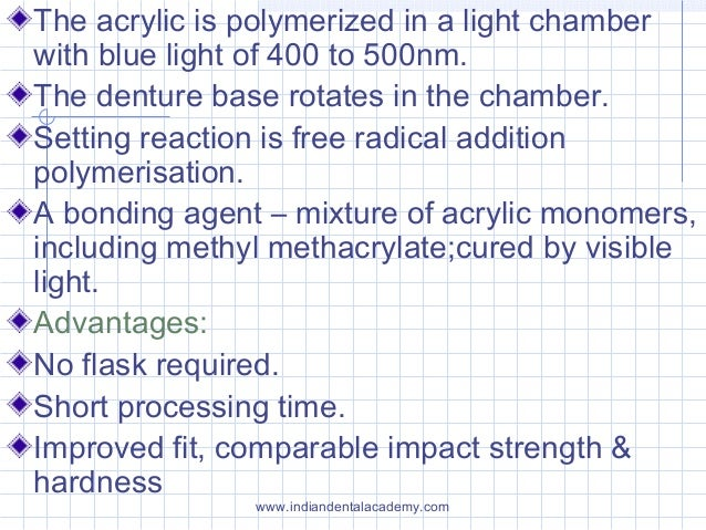 The acrylic is polymerized in a light chamber with blue light of 400 to 500nm. The denture base rotates in the chamber. Se...