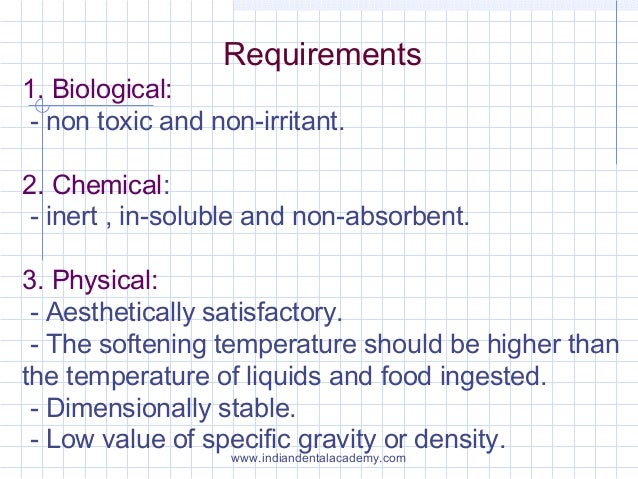 Requirements 1. Biological: - non toxic and non-irritant. 2. Chemical: - inert , in-soluble and non-absorbent. 3. Physical...
