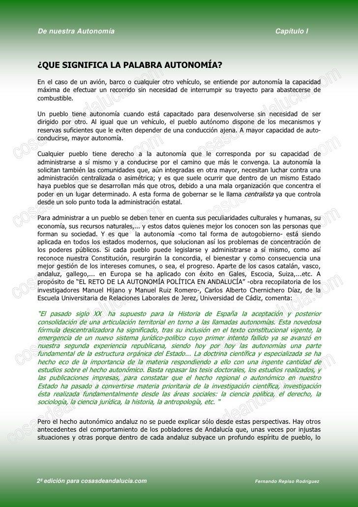 De nuestra Autonomía                                                              Capítulo I    ¿QUE SIGNIFICA LA PALABRA ...