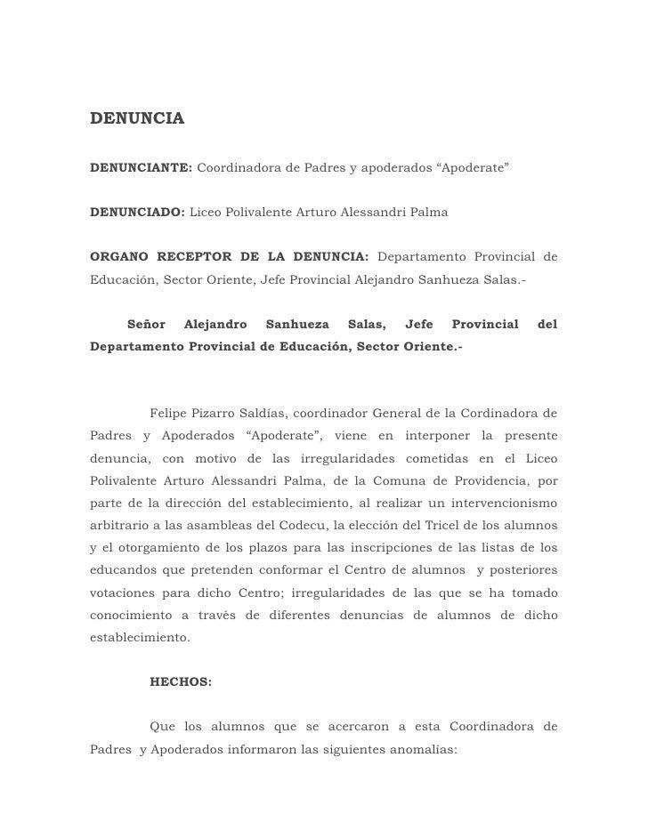 """DENUNCIADENUNCIANTE: Coordinadora de Padres y apoderados """"Apoderate""""DENUNCIADO: Liceo Polivalente Arturo Alessandri PalmaO..."""