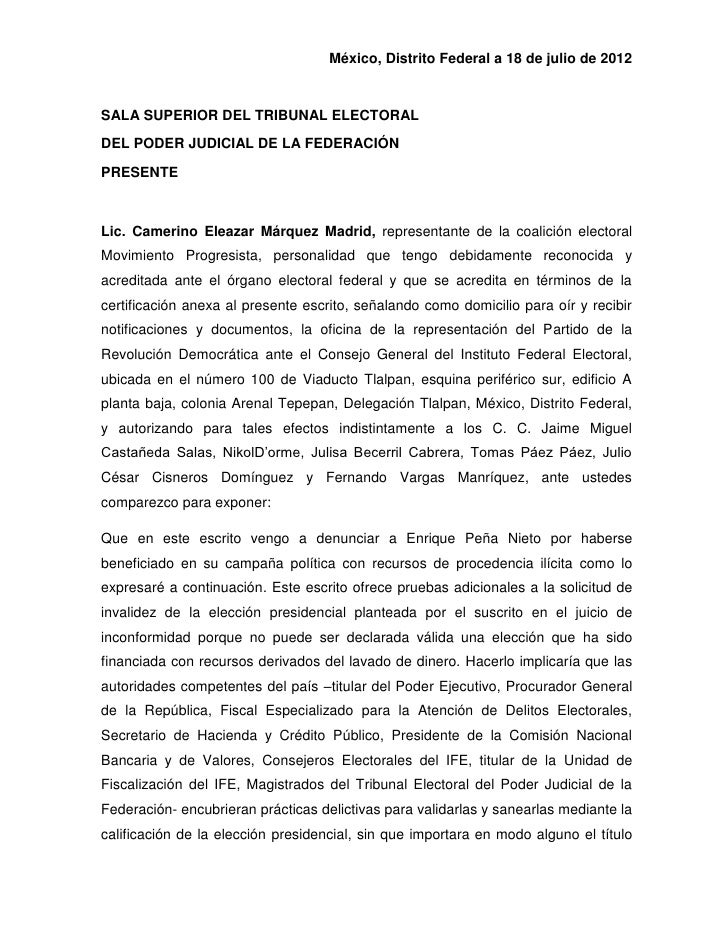 México, Distrito Federal a 18 de julio de 2012SALA SUPERIOR DEL TRIBUNAL ELECTORALDEL PODER JUDICIAL DE LA FEDERACIÓNPRESE...