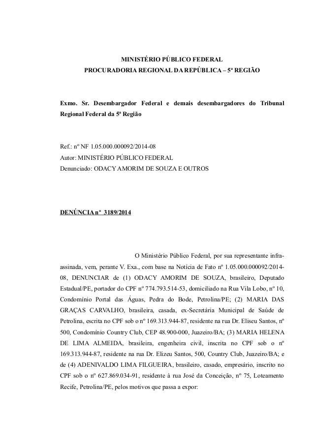 MINISTÉRIO PÚBLICO FEDERAL PROCURADORIA REGIONAL DA REPÚBLICA – 5ª REGIÃO Exmo. Sr. Desembargador Federal e demais desemba...