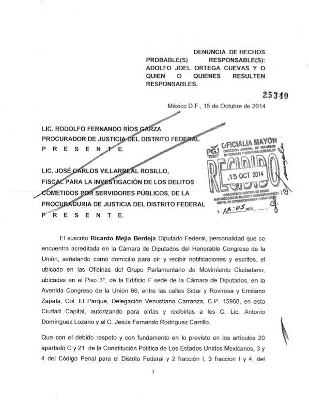 Diputado Ricardo Mejía presenta denuncia penal en contra de Joel Ortega, director del STC metro