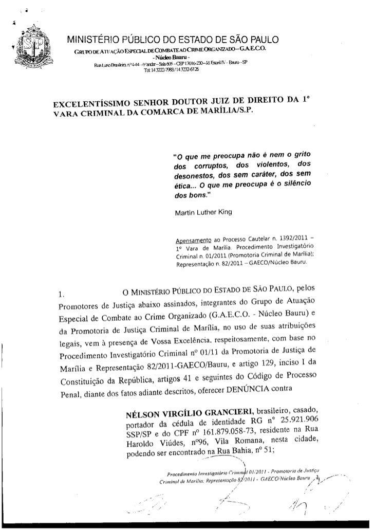 MINISTÉRIO PÚBLICO DO ESTADO DE SÃO PAULO                             - Núdeo Bauru -EXCELENTÍSSIMO SENHOR DOUTOR JUIZ DE ...