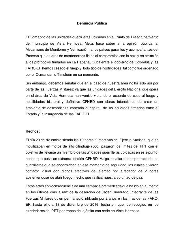 Denuncia Pública El Comando de las unidades guerrilleras ubicadas en el Punto de Preagrupamiento del municipio de Vista He...