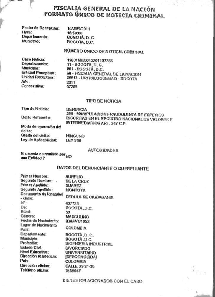 Denuncia penal por manipulacion de las acciones ETB. Aurelio Suarez