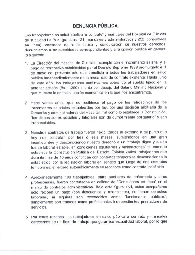 Denuncia publica trabajadores en salud del hospital General 2014