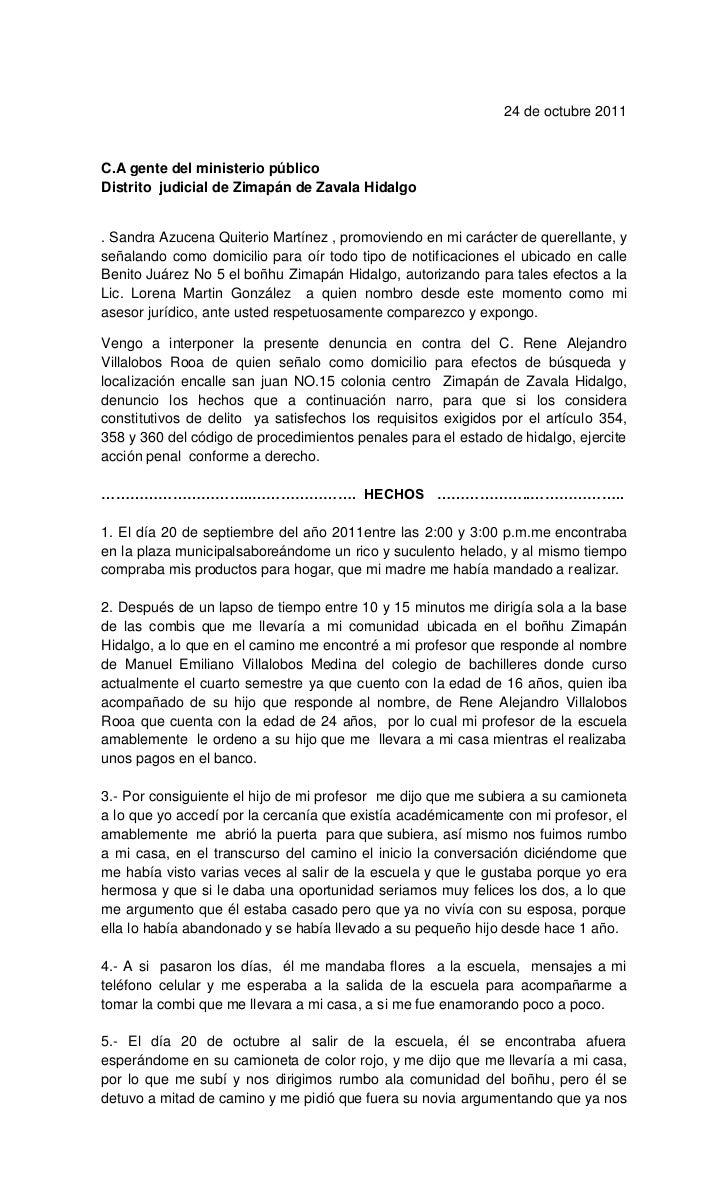 24 de octubre 2011C.A gente del ministerio públicoDistrito judicial de Zimapán de Zavala Hidalgo. Sandra Azucena Quiterio ...