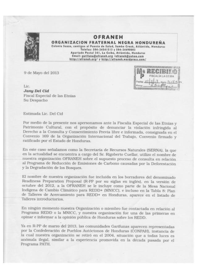 Denuncia a la Secretaria Recuros Naturales (SERNA) de Honduras por la violación al CPLI